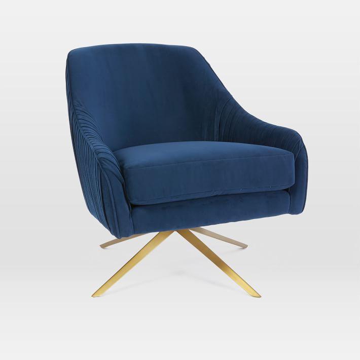 Roar Rabbit Navy Velvet Brass Swivel Chair