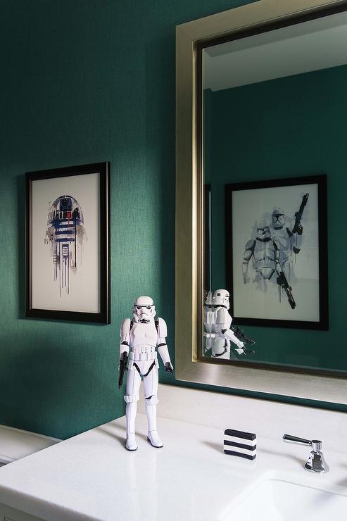 Teal Kids Bathroom Walls with Star Wars Theme - Transitional ...