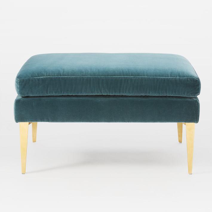 Brilliant Smythe Teal Velvet Brass Ottoman Lamtechconsult Wood Chair Design Ideas Lamtechconsultcom