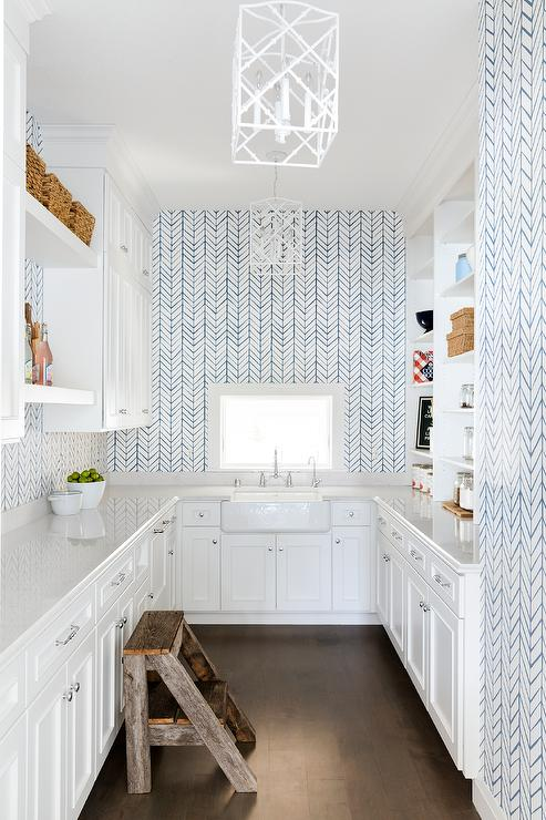 White Pantry With Blue Chevron Wallpaper Transitional