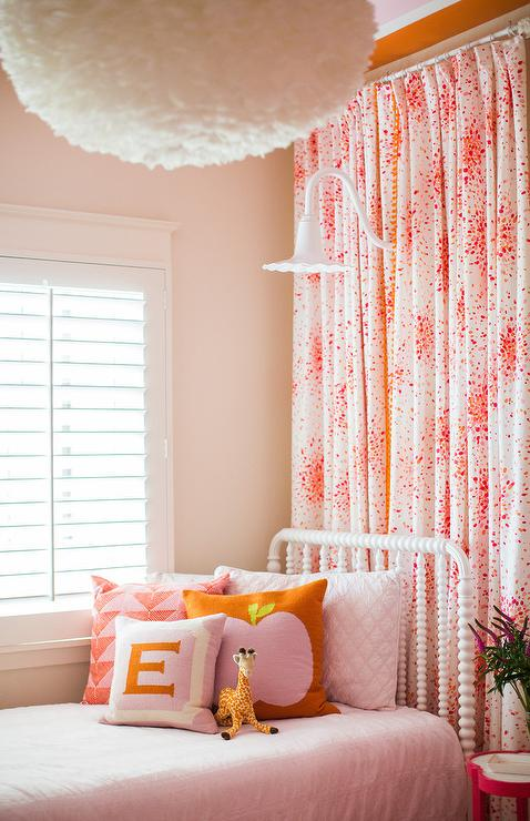 Pink and Orange Kids Bedroom with Play Loft - Contemporary ...