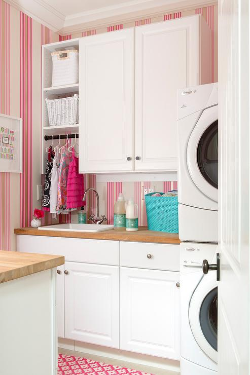 Coral Pink Laundry Room Cabinets Transitional Laundry Room