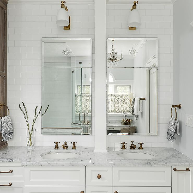 Brushed Gold Vintage Faucets With White Subway Tiles Transitional