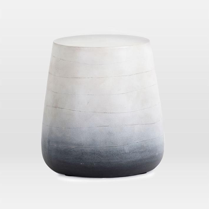 Watercolor Gray Ombre Drum Coffee Table