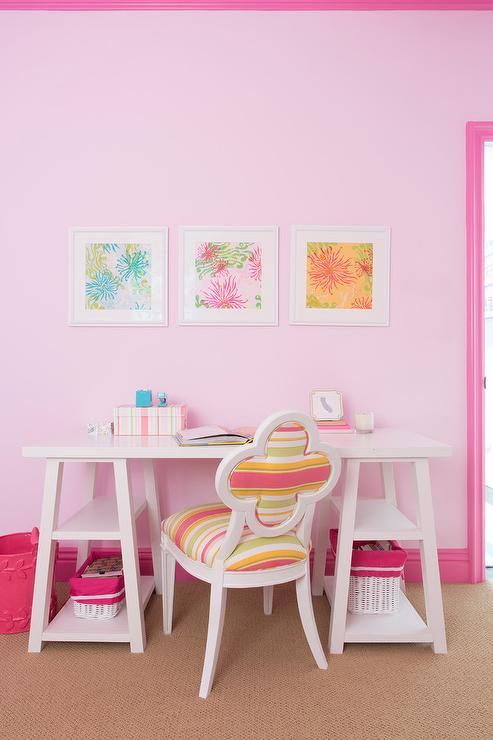White Sawhorse Desk with Striped Quatrefoil Chair - Contemporary ...