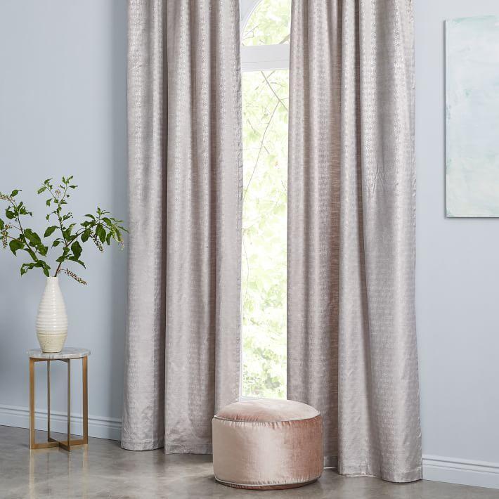 Cotton Luster Velvet Metallic Ogee Curtain