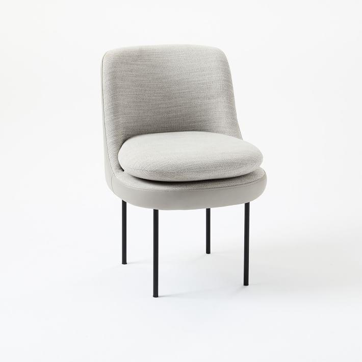 Tremendous Modern Gray Curved Leather Dining Chair Uwap Interior Chair Design Uwaporg