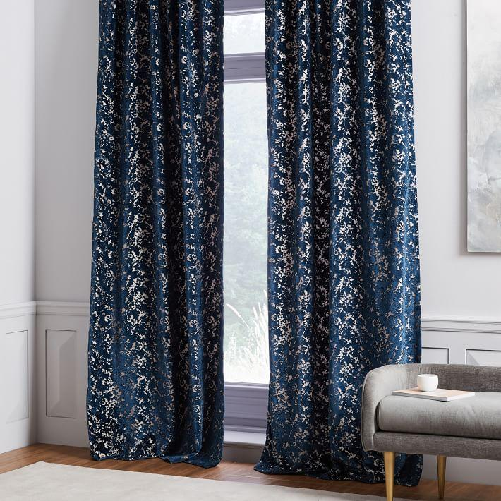 Midnight Blue Allover Textured Jacquard Velvet Curtain