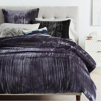 crinkle slate velvet shams duvet cover - Velvet Bedding