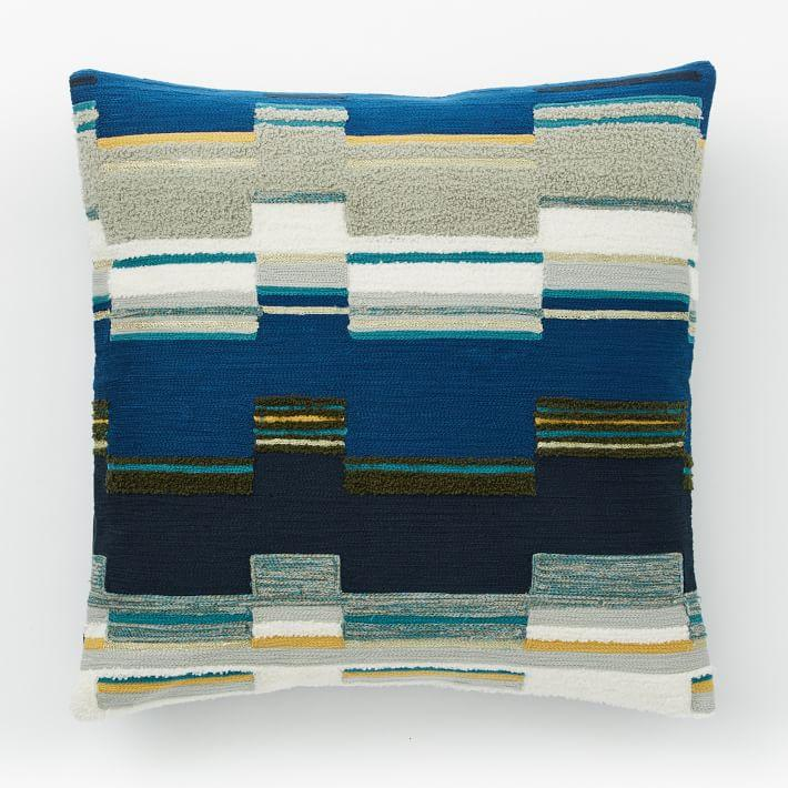 Diamond Dot Crewel Pillow Cover Blue Lagoon West Elm