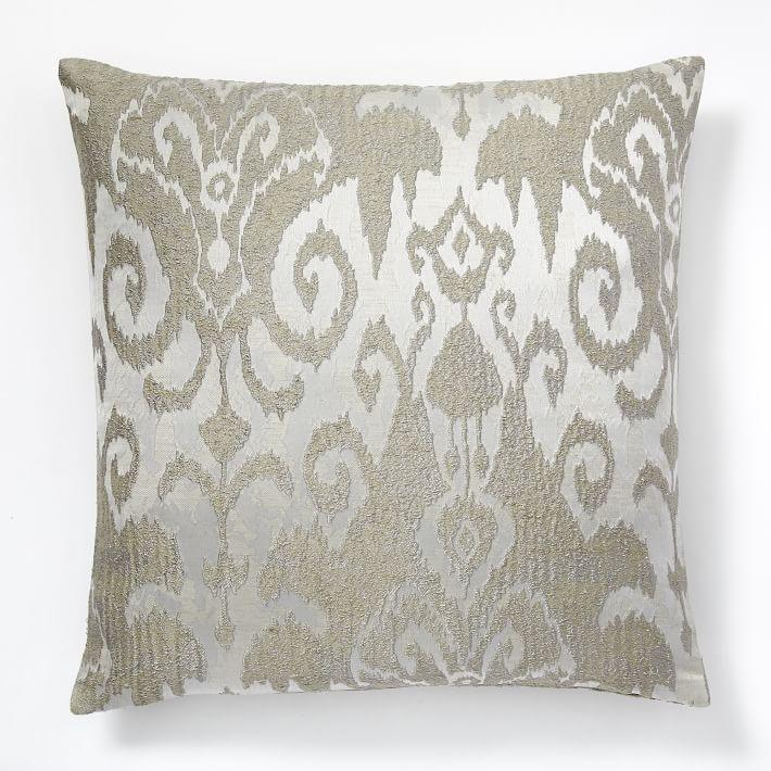 Gold And White Damask Print Pillow