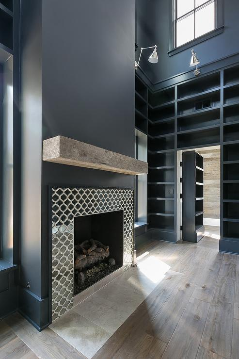 Black Herringbone Fireplace Mantel Tiles Transitional