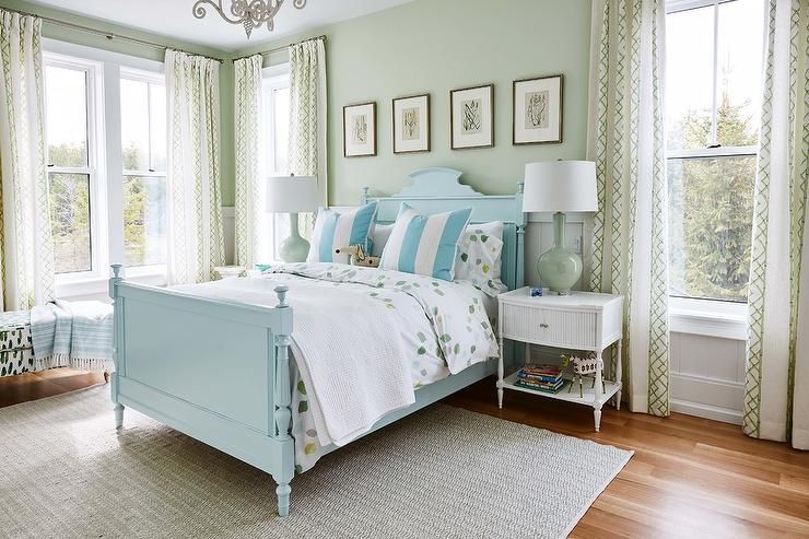 Blue Wood French Bed With Celadon Green Lamps