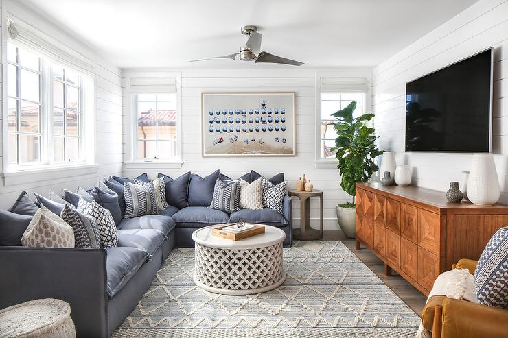 Fy Blue Sectional With Gray Moroccan Rug Transitional Rhdecorpad: Moroccan Rugs For Living Room At Home Improvement Advice