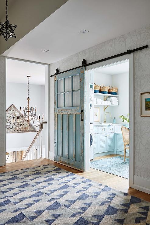Blue Reclaimed Wood Barn Laundry Room Door On Rails Cottage