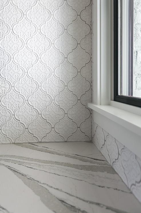 Large White Arabesque Backsplash Tiles Transitional Kitchen