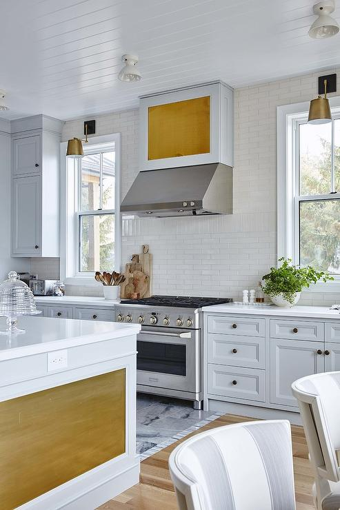 Gold And Light Gray Kitchen Colors Transitional Kitchen - Gray kitchen island colors