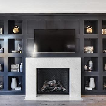 Black Herringbone Fireplace Mantel Tiles Transitional Living Room