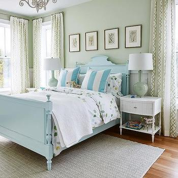 Merveilleux Blue Wood French Bed With Celadon Green Lamps