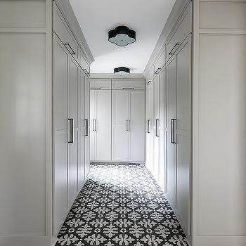Gray And Black Fleur De Lis Bathroom Floor Tiles Design Ideas