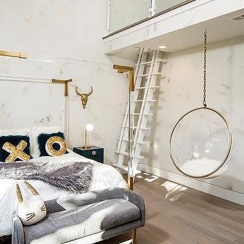 Delightful Brass And Lucite Canopy Bed With XO Pillows