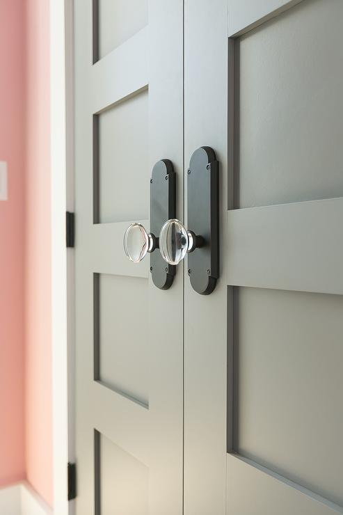 Gray Double Doors with Glass Door Knobs - Transitional - Girl\'s Room