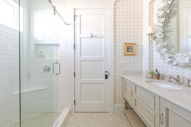 White And Tan Master Bathroom Design Ideas