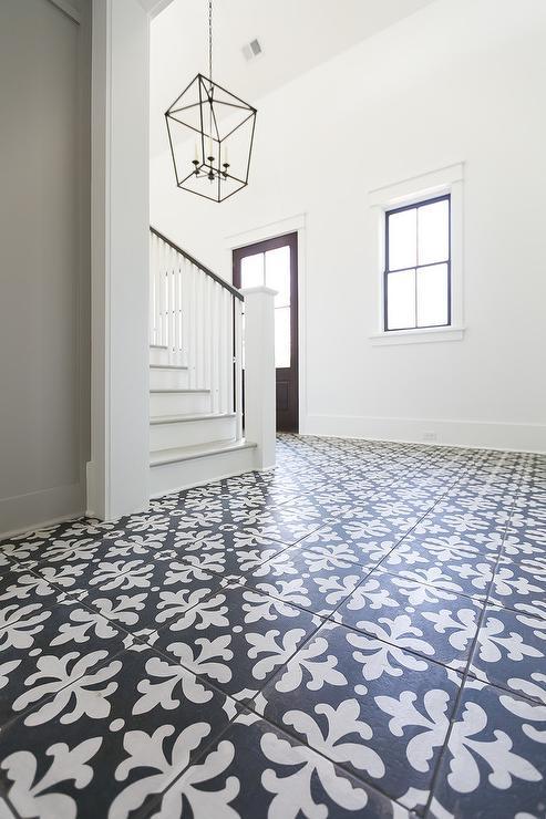 Black and White Fleur de Lis Foyer Tiles - Transitional - Entrance/foyer
