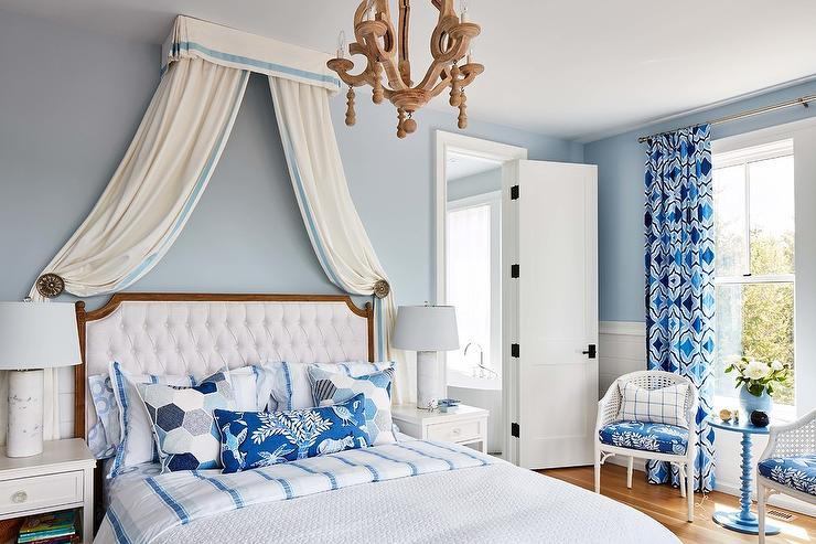 White and Blue French Bedroom - French - Bedroom