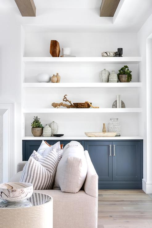 Superieur Blue Built In Fireplace Cabinets With White Shelves