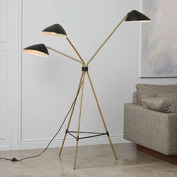 Mid Century Tripod Brass Floor Lamp