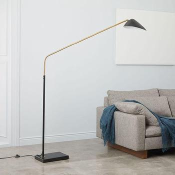 Dwellstudio Black And Brass Cone Floor Lamp