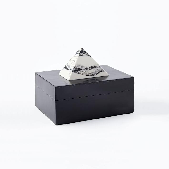 Black And White Decorative Boxes Unique Marble Pyramid Black Decorative Box Design Inspiration