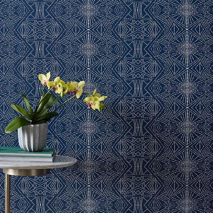 Navy White Starburst Geometrical Wallpaper