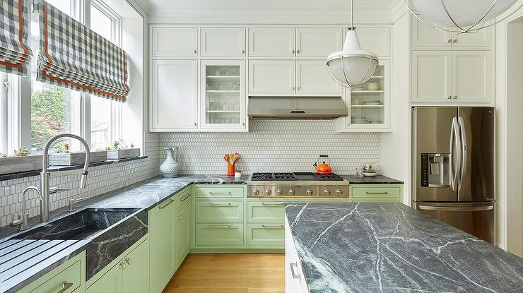 Black Soapstone Sink with Green Cabinets - Transitional - Kitchen on dark cabinets with hardware, dark marble countertops, dark grey countertops, dark granite countertops, dark cabinets with quartz, dark floors light cabinets dark countertops, dark color laminate countertops, dark cabinets black countertop, dark cabinets with backsplashes,
