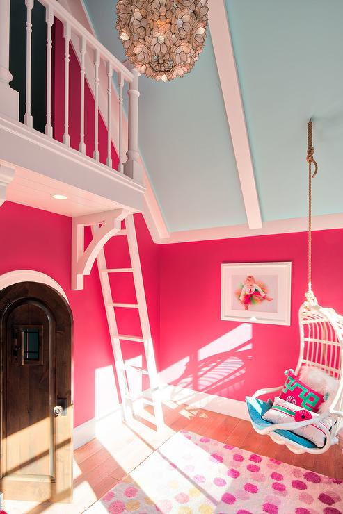 Blue Vaulted Ceiling with Pink Walls - Transitional - Girl\'s Room