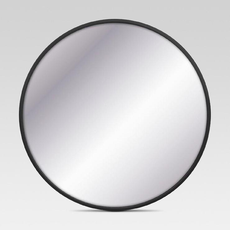 Project 62 black circular large wall mirror for Round black wall mirror