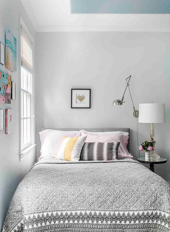 traditional bedroom with beige walls 12102 | girls room light gray walls with blue ceiling