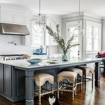 Charcoal Gray Wainscoting On Island