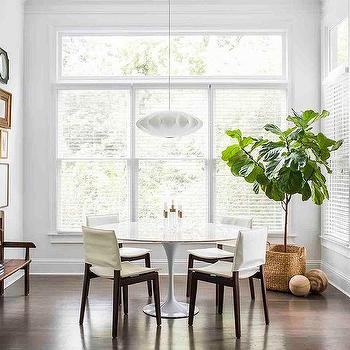 Round Saarinen Table With Ivory Slipcovered Chairs