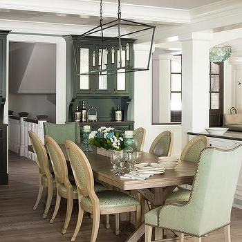 Green Chairs With Brown Trestle Dining Table