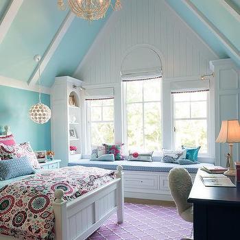 White Faux Fur Girl Bedroom Desk Design Ideas