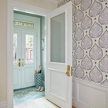 Vestibule with Ivory and Gray Mosaic Floor Tiles & Vestibule Double Doors Design Ideas