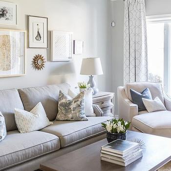 Light Gray Sofa With Brown Rectangular Coffee Table