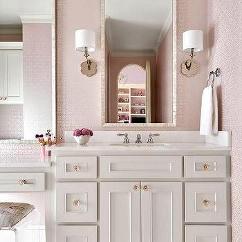 White And Pink Girls Bathroom Colors