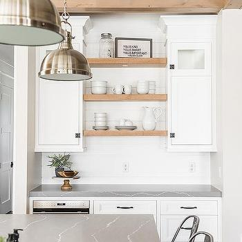 Charmant White Cabinets With Blond Wood Shelves