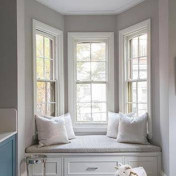 White and Gray Window Seat in Bay Window & Built In Bay Window Bench Design Ideas