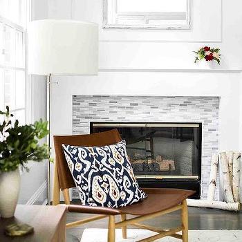 Gray Glass Mosaic Fireplace Mantel Tile Design Ideas