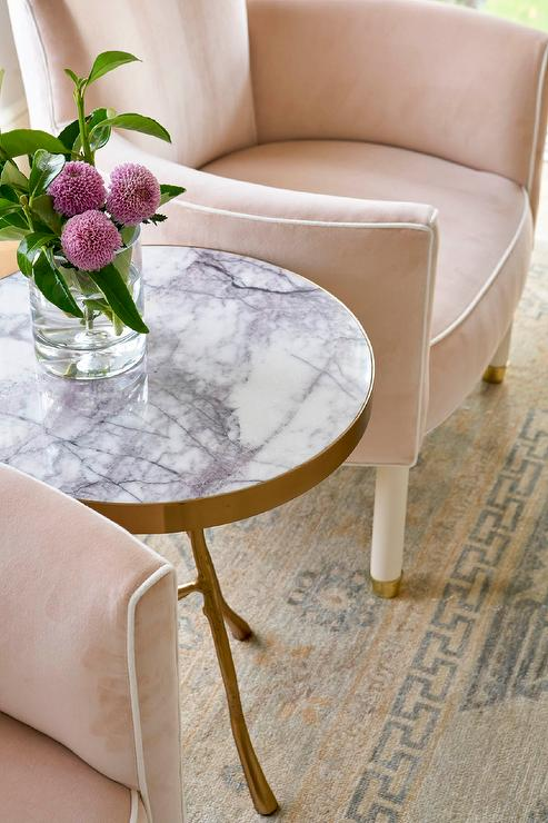 Blush Pink Velvet Chairs With Gold And Gray Wool Rug