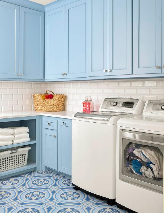 Powder Blue Laundry Room Cabinets With White Washer And